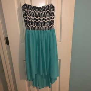 Strapless chevron and teal low to high dress